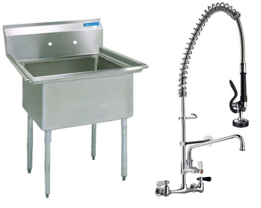 Utility Room Stainless Steel One Compartment Utility Prep Mop Sink 23 X 24  With Pre Rinse Faucet