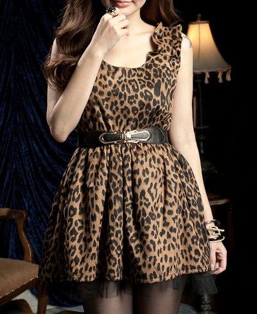 Classic Leopard Print Dress w/ Belt - $65.00