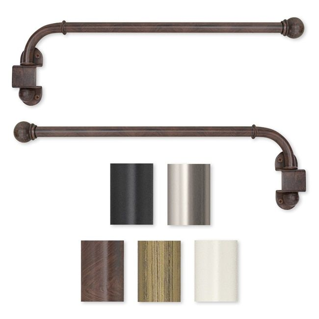 Global Swing Arm 14 to 24-inch Adjustable Curtain Rod In Antique ...