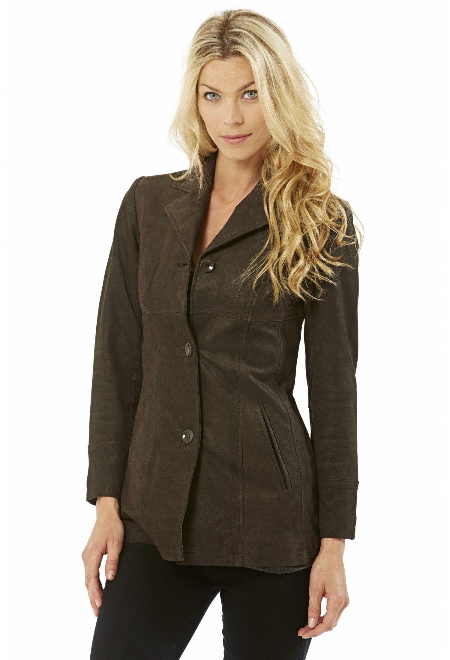 Veste en cuir femme oversize
