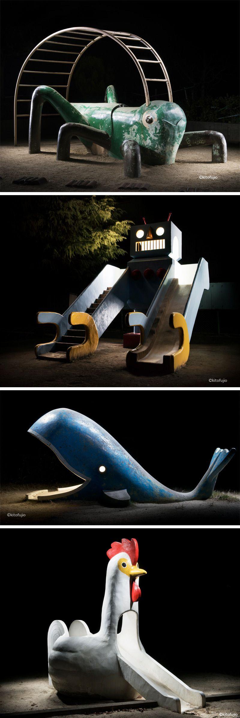 Photos of Japanese Playground Equipment at Night by Kito