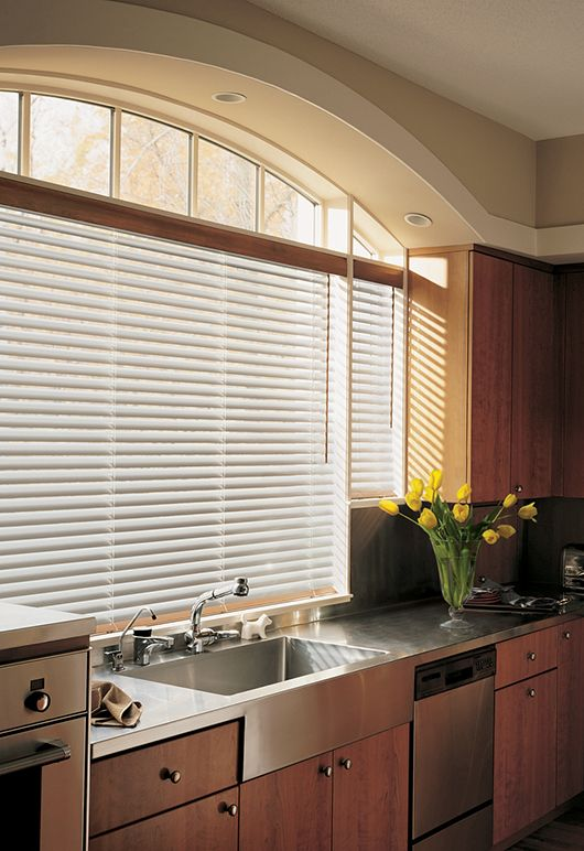 Natural Elements™ metal blinds perfectly complement the stainless - rollos für die küche
