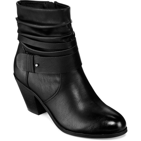 CL By Laundry Lainey Slouchy Booties ($70) ❤ liked on Polyvore featuring shoes, boots, ankle booties, strappy booties, cl by laundry, chunky heel booties, slouchy boots and slouch booties