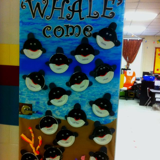 Whale Classroom Decor ~ My classroom door for open house doing an ocean theme