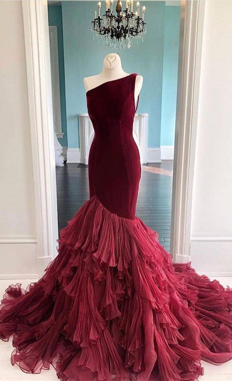 Meerjungfrau Asymmetrisches Abendkleid Ballkleider Lang Weinrot