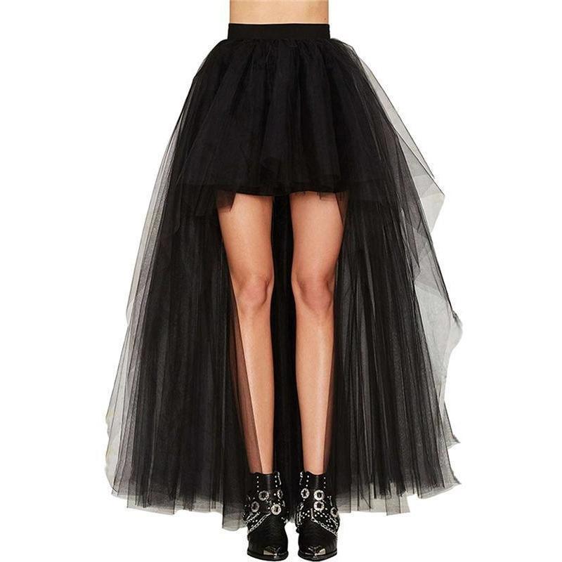 Women Mesh Tulle Bustle Goth Fancy Bustle Skirt Burlesque Tutu Lace Rocky Skirt
