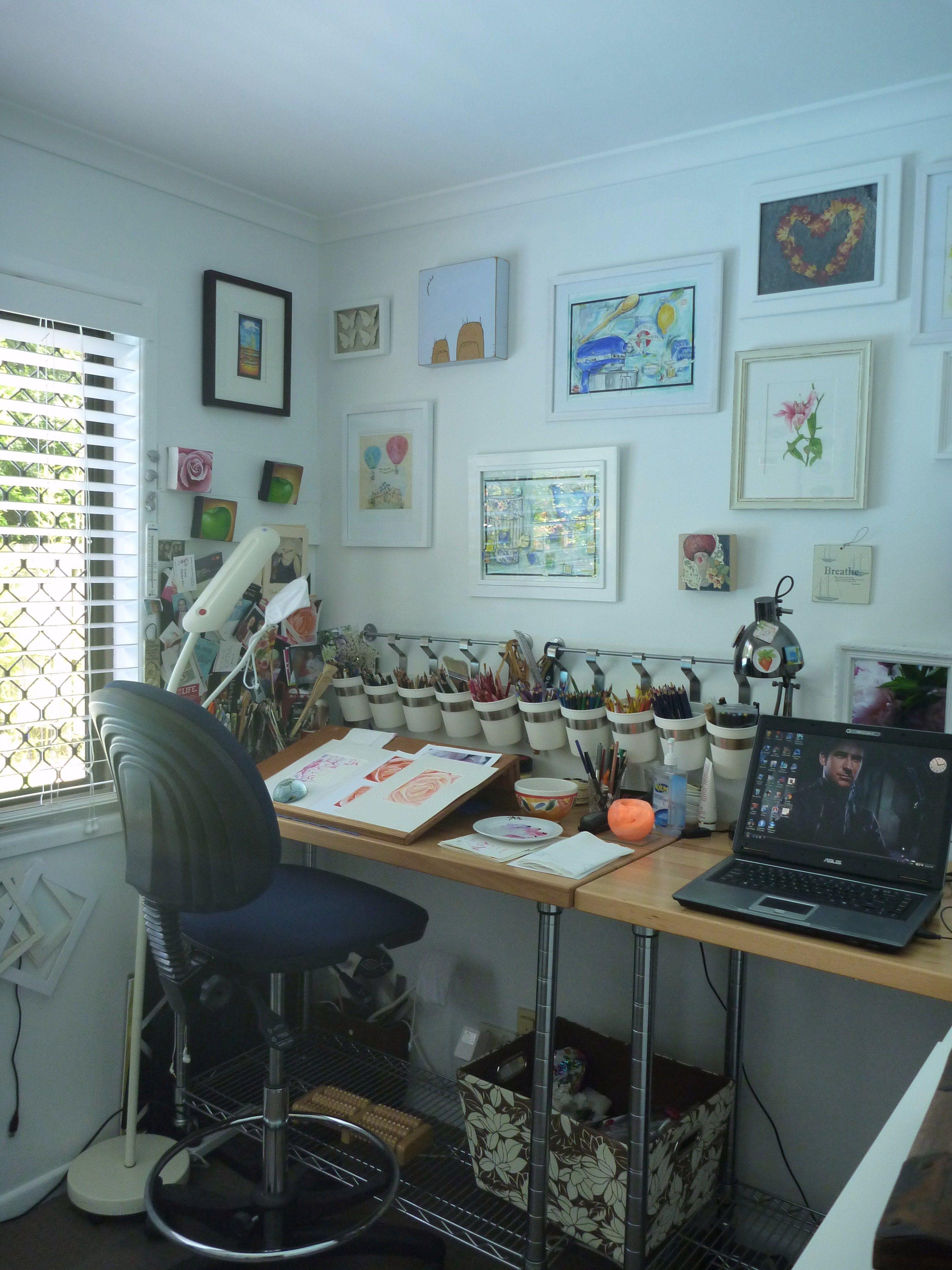 44 Creative Art Studio Organization Ideas for Workspace Desks images