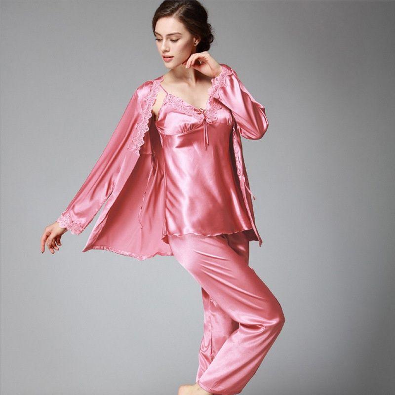 28fe3b869 3 Pcs Luxurious Women Pajama Sets Summer Autumn New Faux Silk Solid Lace Ladies  Pajamas Female Home Clothing Pants Woman