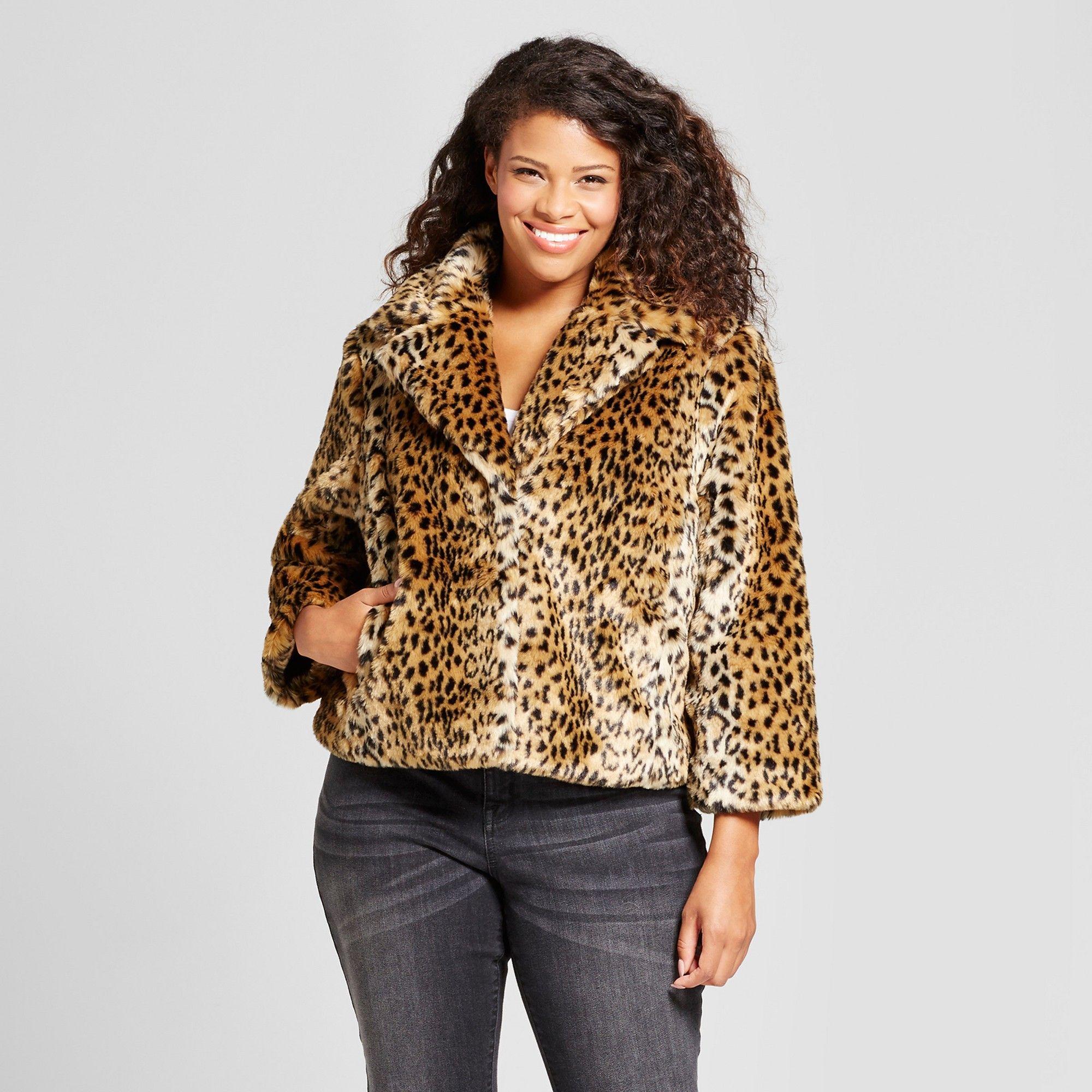 f98546150b Women s Plus Size Faux Fur Jacket - Ava   Viv Cheetah Print 2X ...