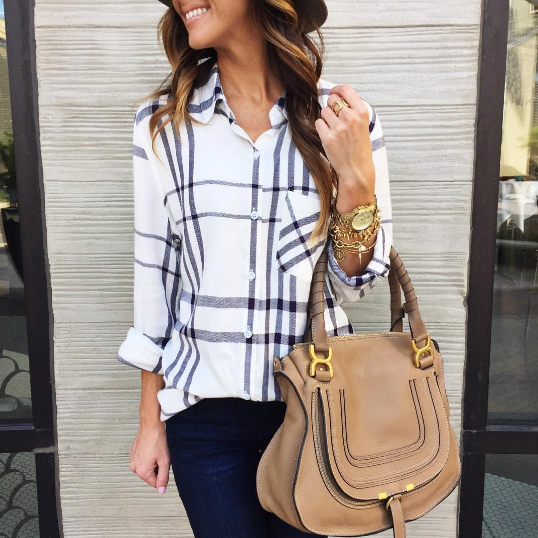 Flannel shirt bag  On the hunt for a good black and white plaid shirt  Outfits