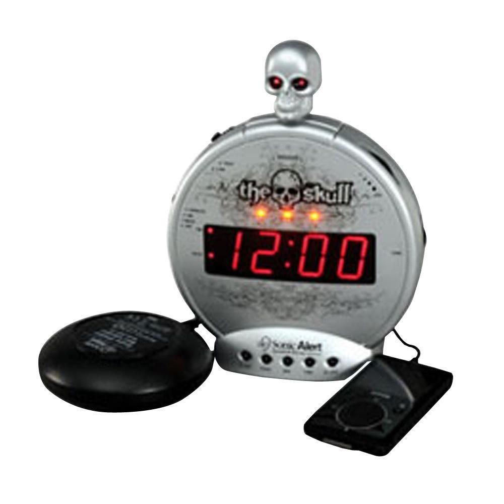 Sonic Alert Skull Mp3 Ipod Alarm With Shaker Silver Loud Alarm