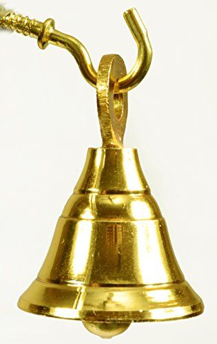 Lot of 6 Pcs Gold Plated Brass Door Home Dcor Indian Bells 16 Ht 12Dia ** You can find more details by visiting the image link.