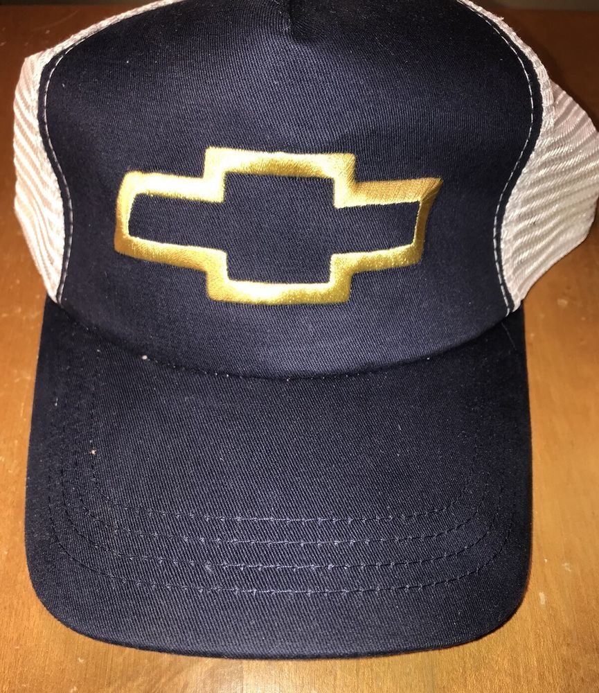 3217e016b99 Blue And White CHEVY Trucker Snap-back Hat Mesh Cap No Label Unbranded   fashion