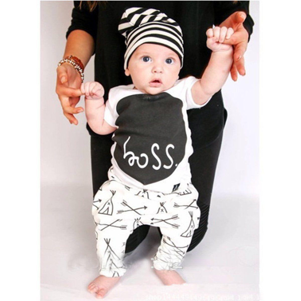 2pcs Newborn Toddler Kids Baby Boys Clothes Cotton T-shirt Tops+Pants Outfit Set