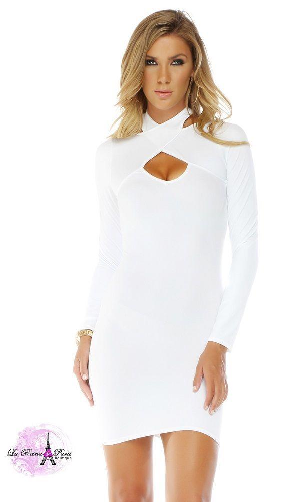 f7cfadab41 Comprar Vestido ajustado blanco manga larga online Moda mujer low ...
