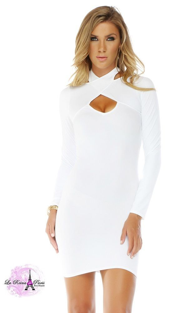 b5293125bd Comprar Vestido ajustado blanco manga larga online Moda mujer low cost  lareinadeparis. Vestido ajustado blanco manga larga