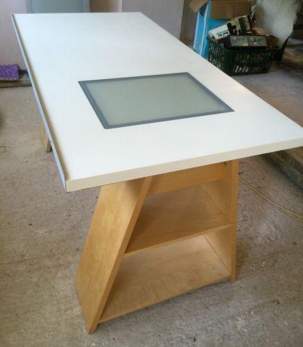 Good Vika Blecket Drawing Table With Glass Window For Light U0026 IKEA Storage Legs