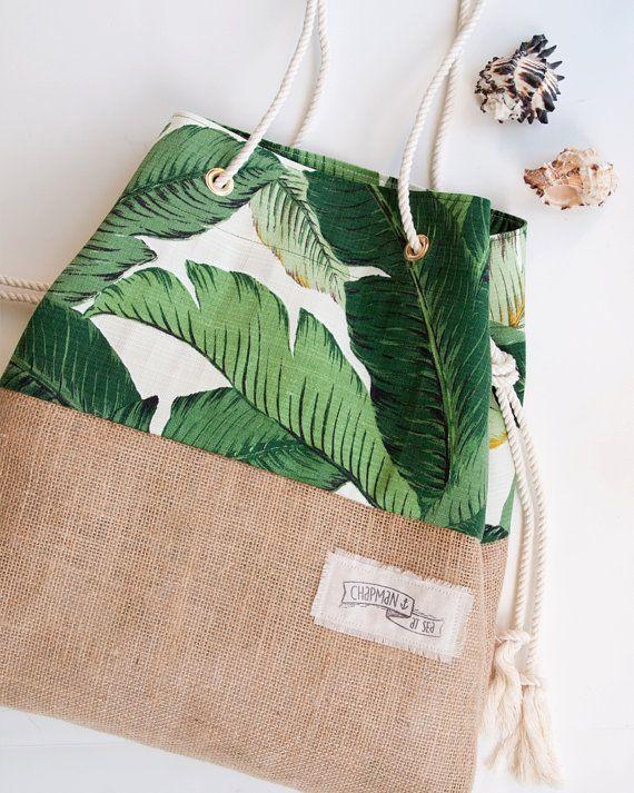 Palm Print Burlap Beach Bag The Sandbag In Green Banana