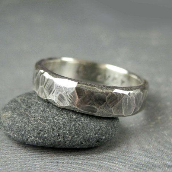 Personalised Rustic Wedding Ring Custom Engraved Rough Hewn Mens