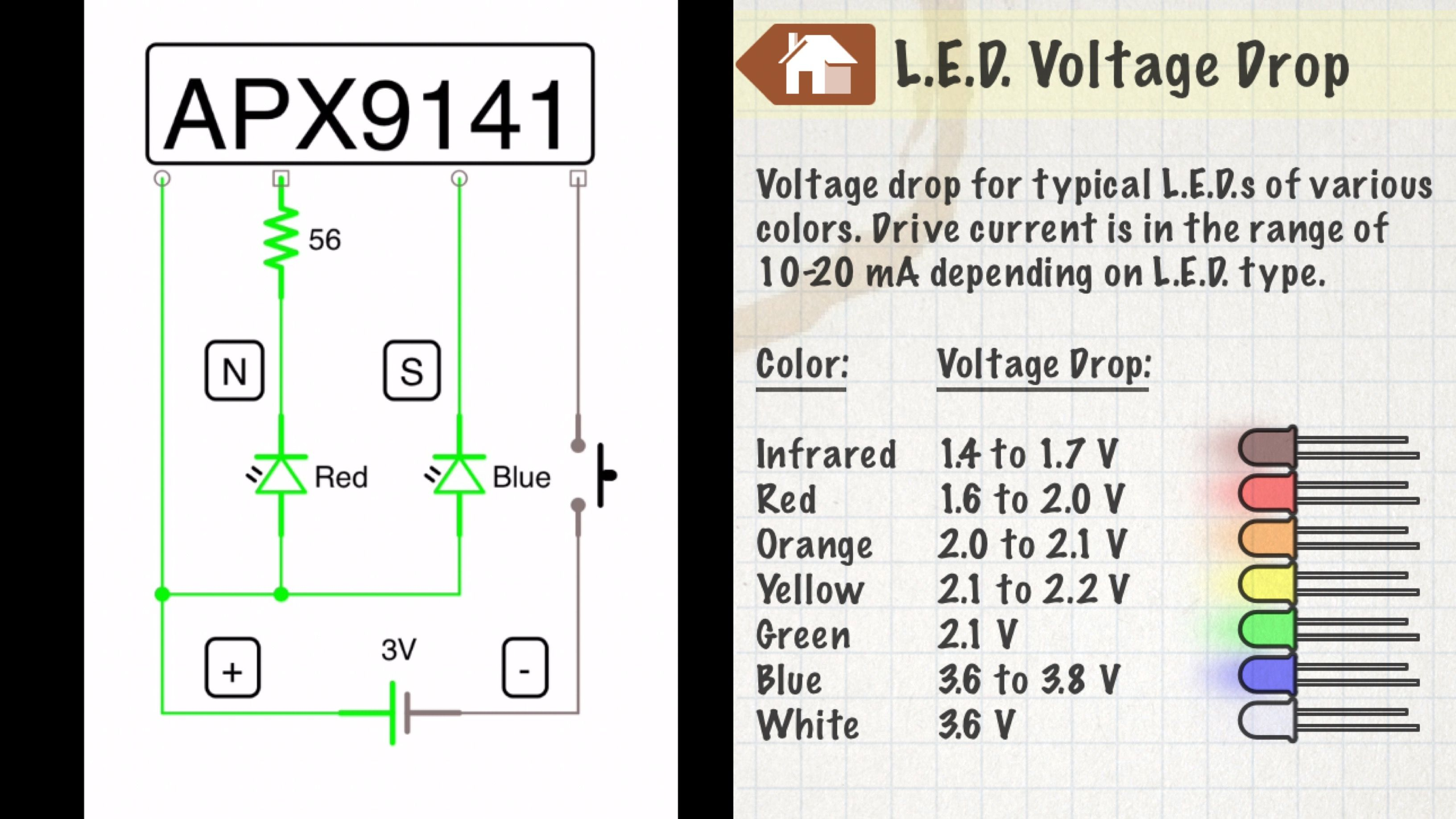 Led Voltage Drop Chart For Magnetic Polarity Detector Circuit Leds In A Series