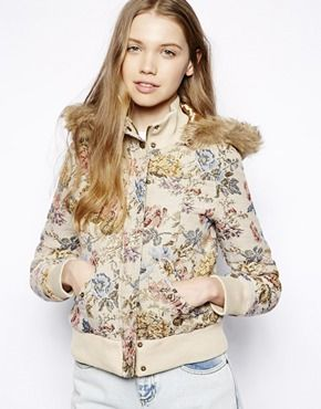 Bellfield Tapestry Bomber Jacket With Fur Trim Hood