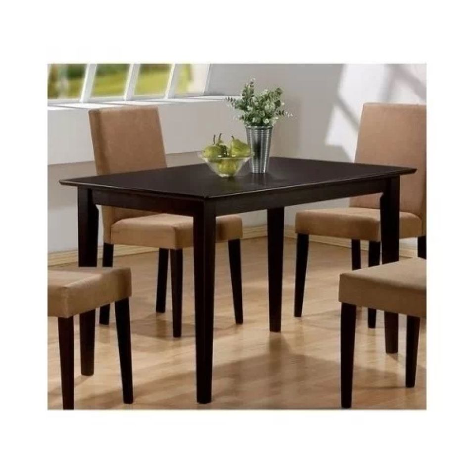 Cappuccino Finish Dining Table 4 Microfiber Parson Chairs Set - - Product  Description: The unique look of the Cappuccino Finish Casual 5 Piece Table  Set by ...