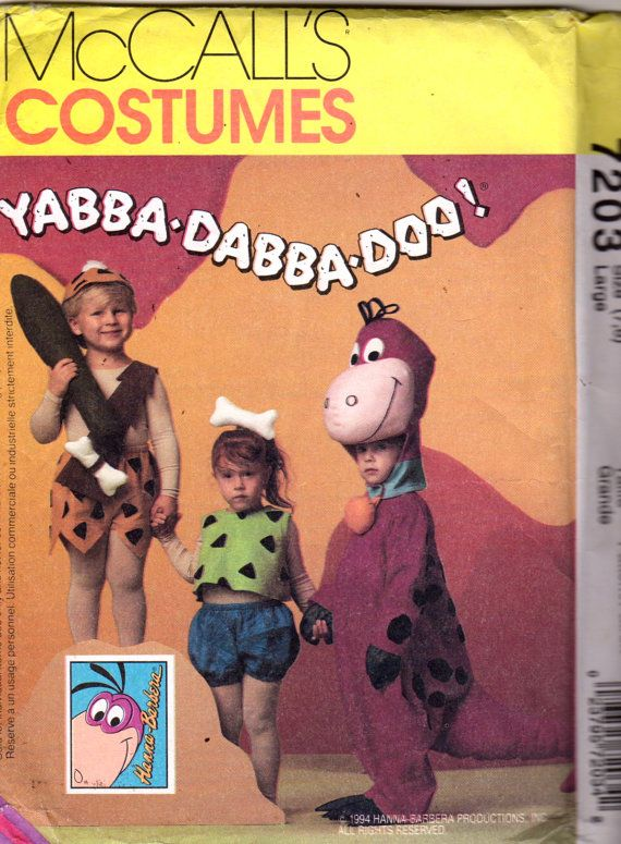 McCalls 5555 P204 7203 Boys Girls Flintstones Costume Pattern Bam Bam Pebbles Dino Toddlers Sewing Pattern Size Medium Or Small UNCUT #pebblesandbambamcostumes