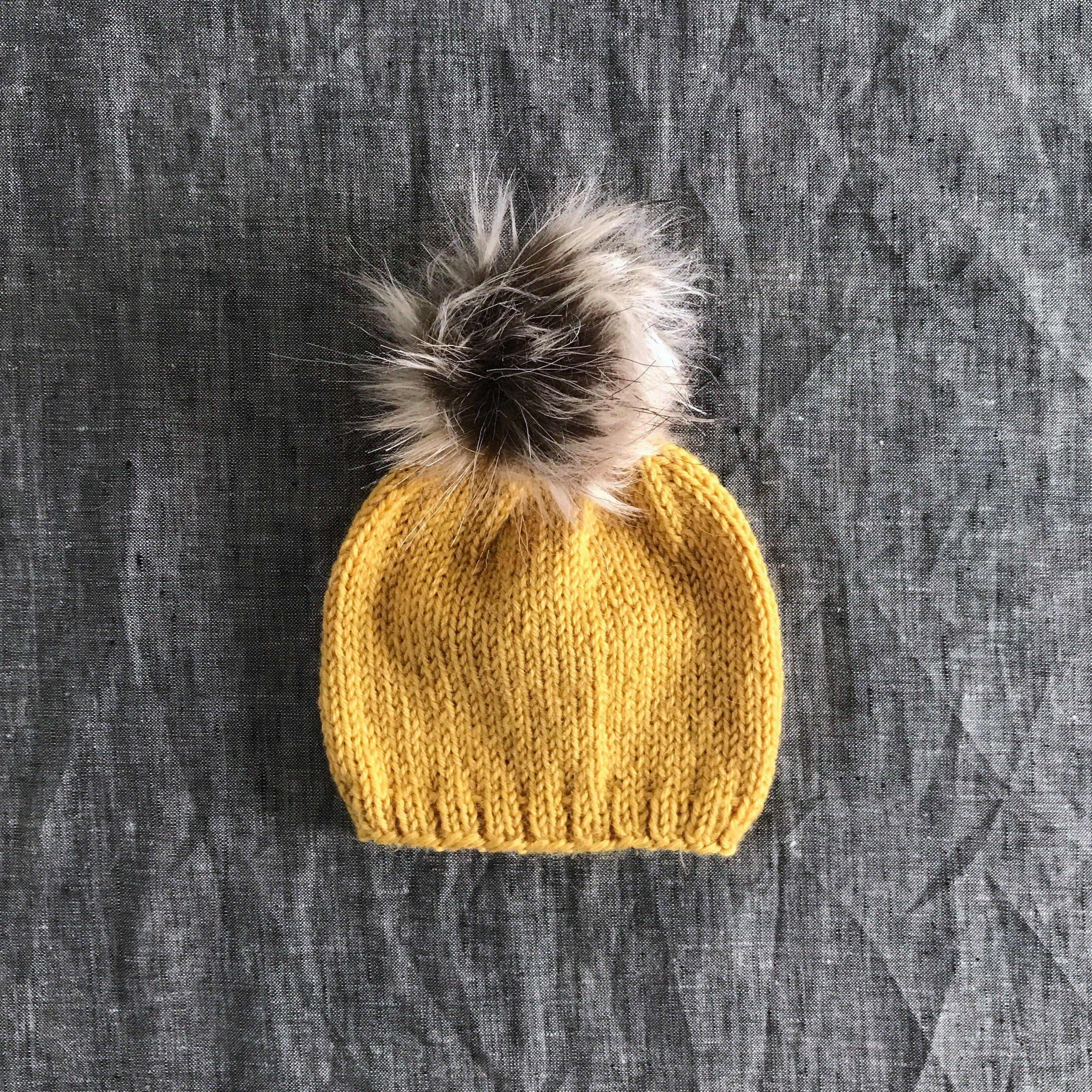 Mustard Baby Beanie with Faux Fur Pompom - 3 Month Size  accessories  hat   babyshower  mustardbabybeanie  fauxfurpompomhat e6d01cb9600