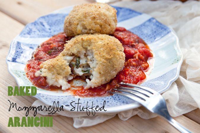 Baked Mozzarella-Stuffed Arancini via Shaina Olmanson at FoodforMyFamily.com