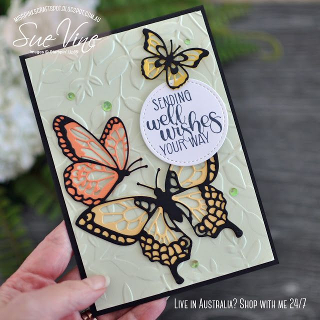 Butterfly Beauty meets Dandelion Wishes Card created using Butterfly Beauty Thinlets from Stampin' Up!® by Sue Vine | MissPinksCraftSpot | Stampin' Up!® Australia Order Online 24/7 | Butterfly Beauty |