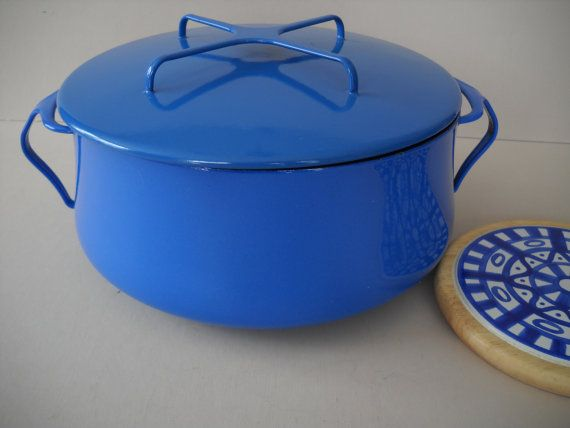 Dansk Kobenstyle Blue Enamel 4 Qt Stock Pot Dutch Oven Kitchen Vintage Cookware Kitchen Cookware