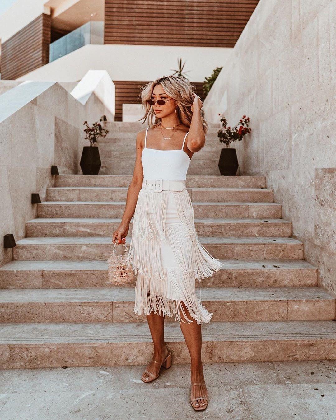 L Academie On Instagram Fairly Fringe Flamcis In The Roi Midi Skirt Link In Bio To Shop Glam Fashion Skirts Midi Skirt