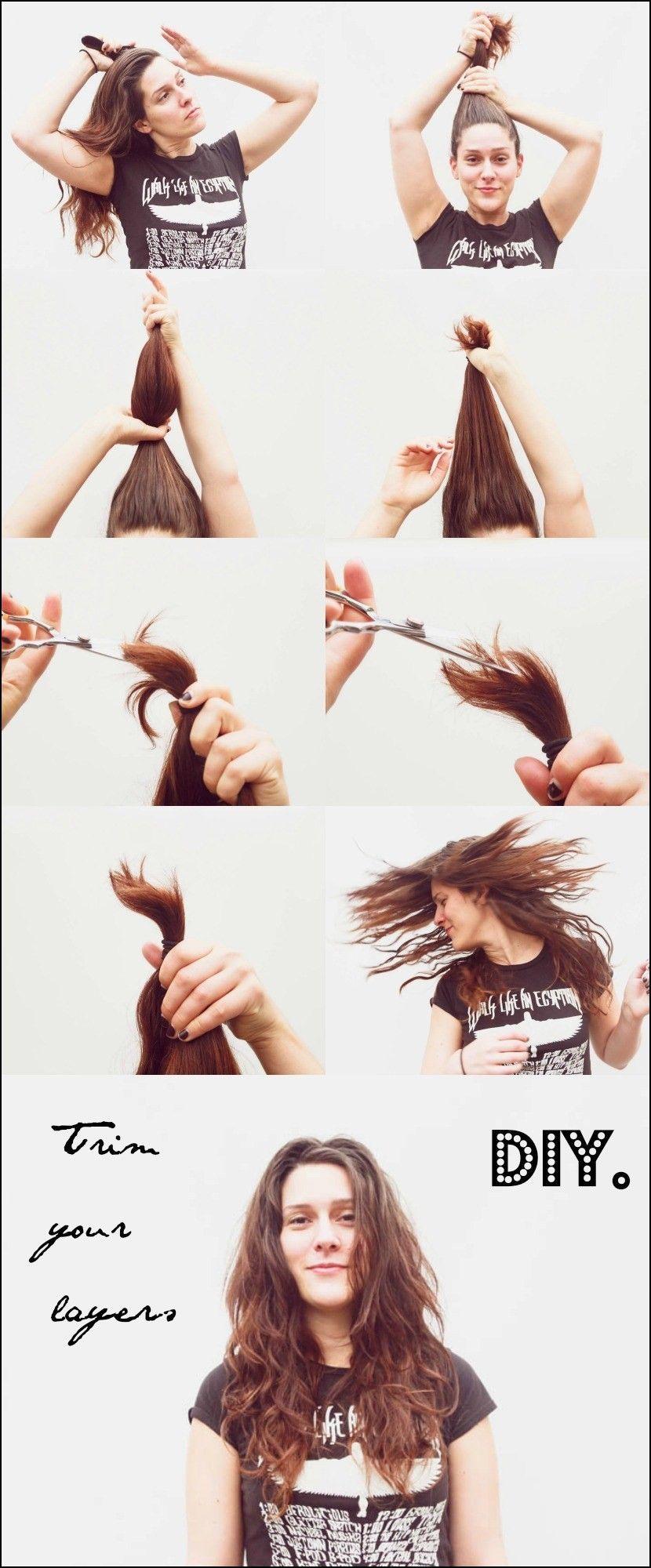 Diy Short Layered Haircut Diy Hair Trim Hair Trim Short Hair Diy
