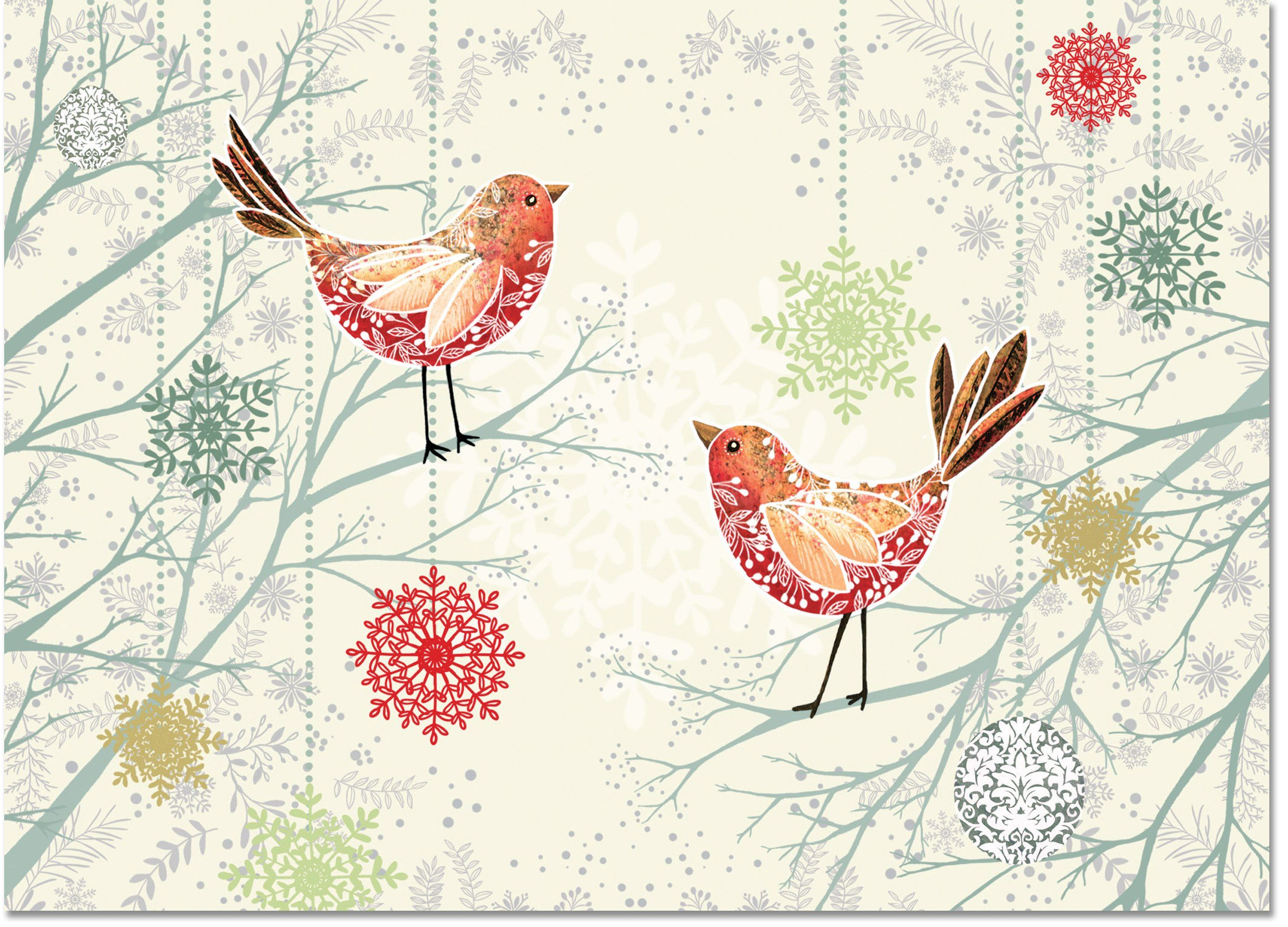 Festive Feathers Deluxe Boxed Holiday Cards (Christmas Cards ...