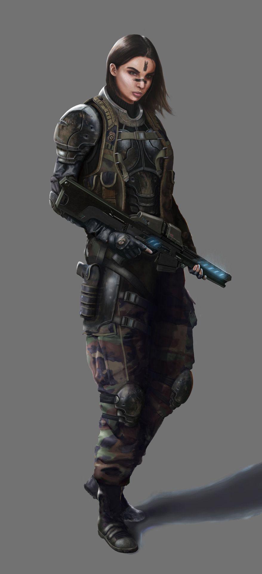ArtStation - Female Soldier, Joey Tan   Sci fi characters ...