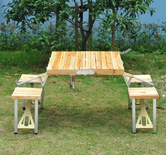Merveilleux Wooden Picnic Table Bench Seats Portable Folding Suitcase Outdoor Camp  Furniture