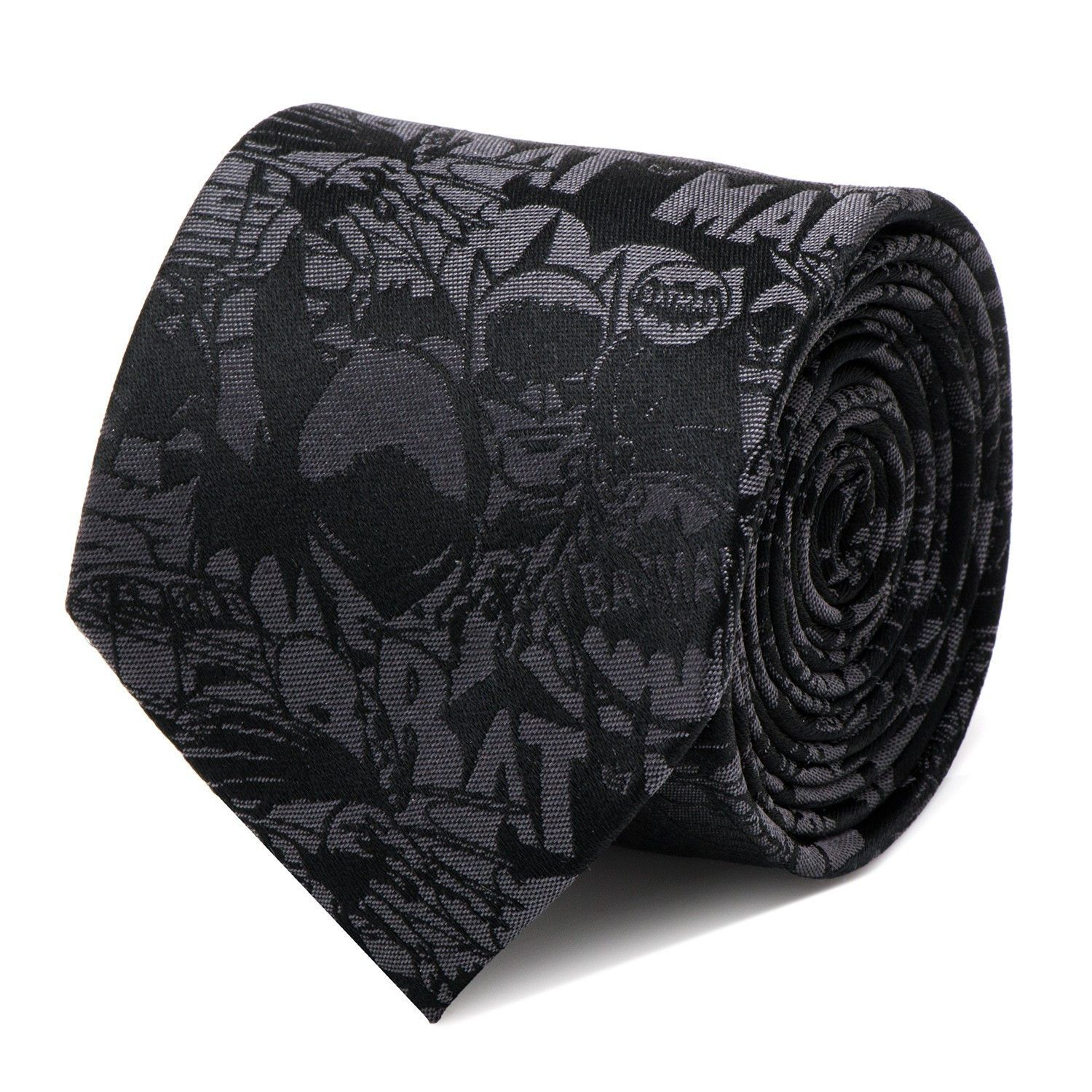 Need a cool black tie with your favorite superhero on it? Look no further than this awesome Batman Comic Mens Tie that has a collage of Batman all over it. Makes a great gift for the holidays, birthda