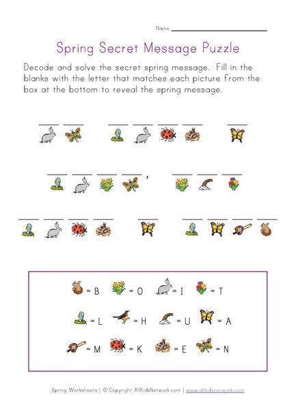 Spring Picture Cryptogram Puzzle Spring Worksheet Spring Words