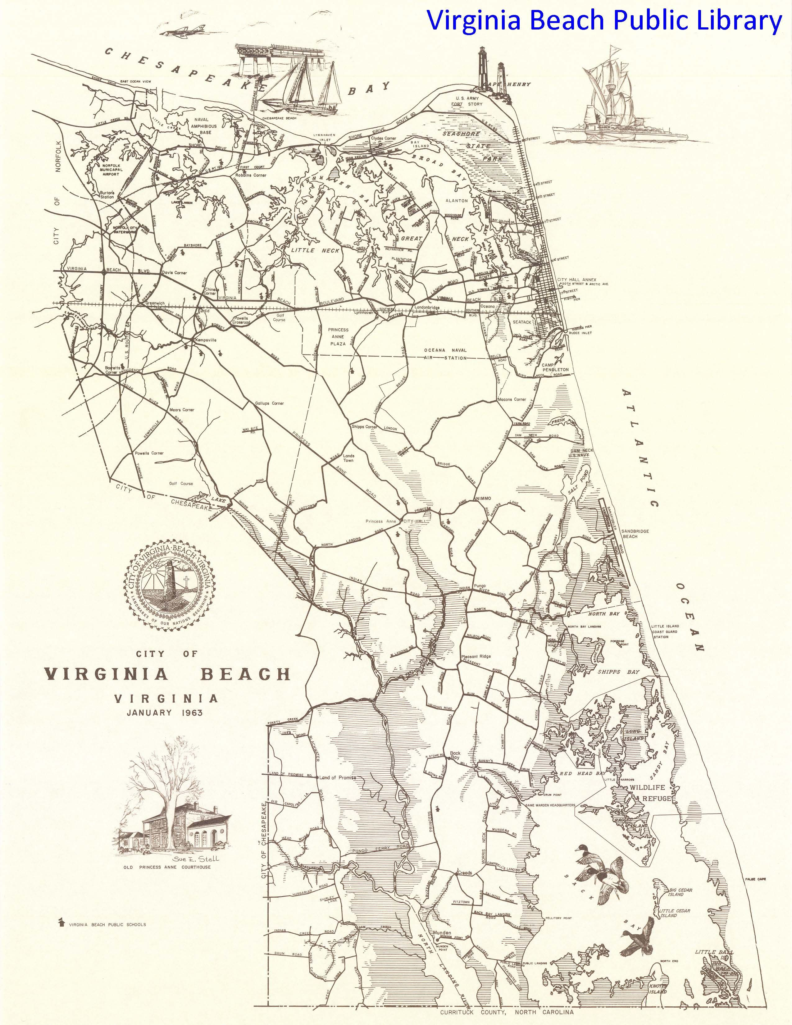 A map of Virginia Beach Virginia in 1963 when Princess Anne County
