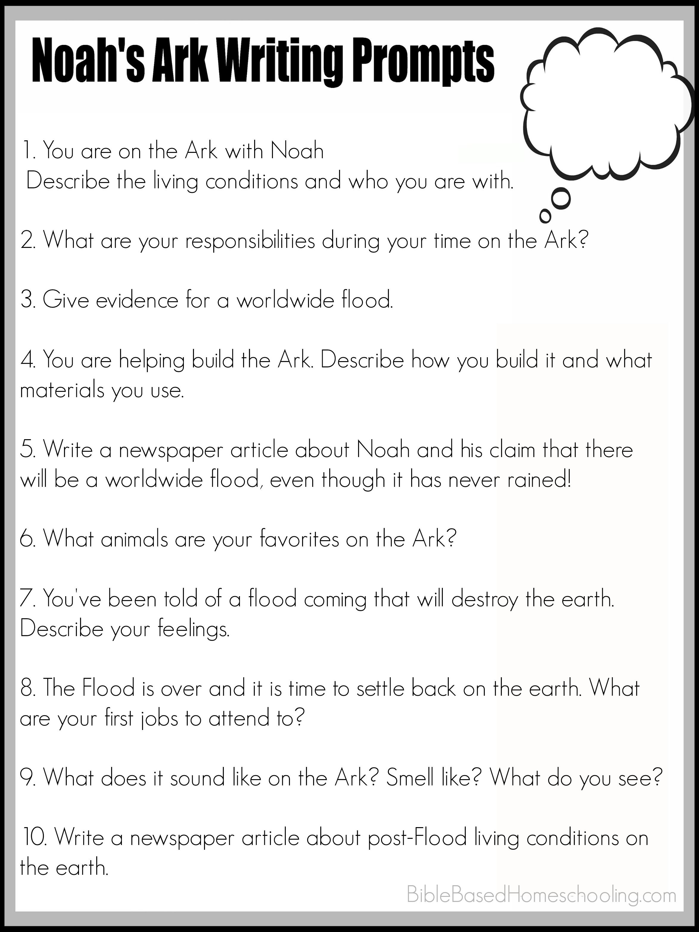 hight resolution of FREE Printable Noah's Ark Writing Prompts   Writing prompts