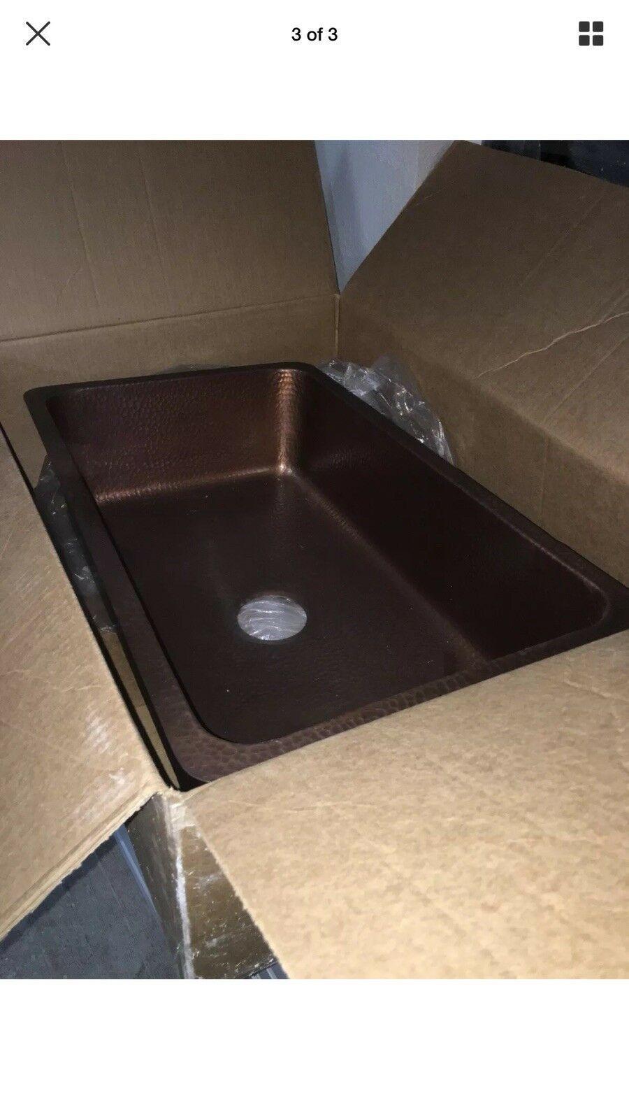 """Sinkology Farmhouse Drop In Kitchen Copper Sink 33"""" x 22"""