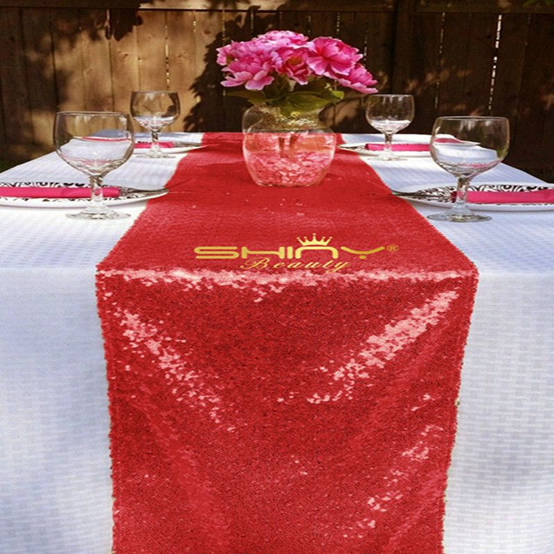 Red Sequin Table Runner, 14x108inch Red Sequin Table Linen, Red Sequin  Table Runner For Home Table Decoration U0026a