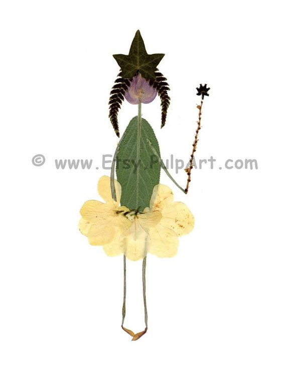 Petal People - Pressed flower art - Digital print of original artwork featuring a flower princess - Blank greeting card for a birthday