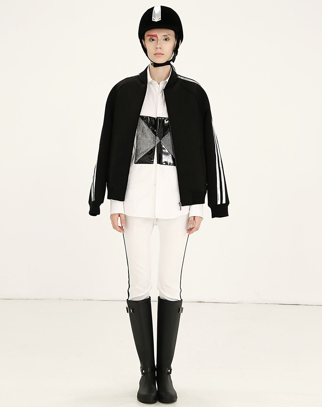 AdoreWe VIPme Jackets DC Black Minimalist Stand Collar Raglan