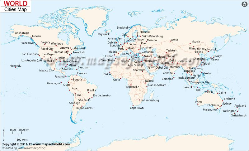 Worldcity Map Major Cities Like New York London Paris Sydney