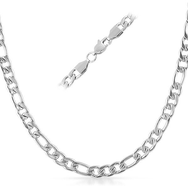 18k White Gold//Stainless Steel 6mm Figaro Chain