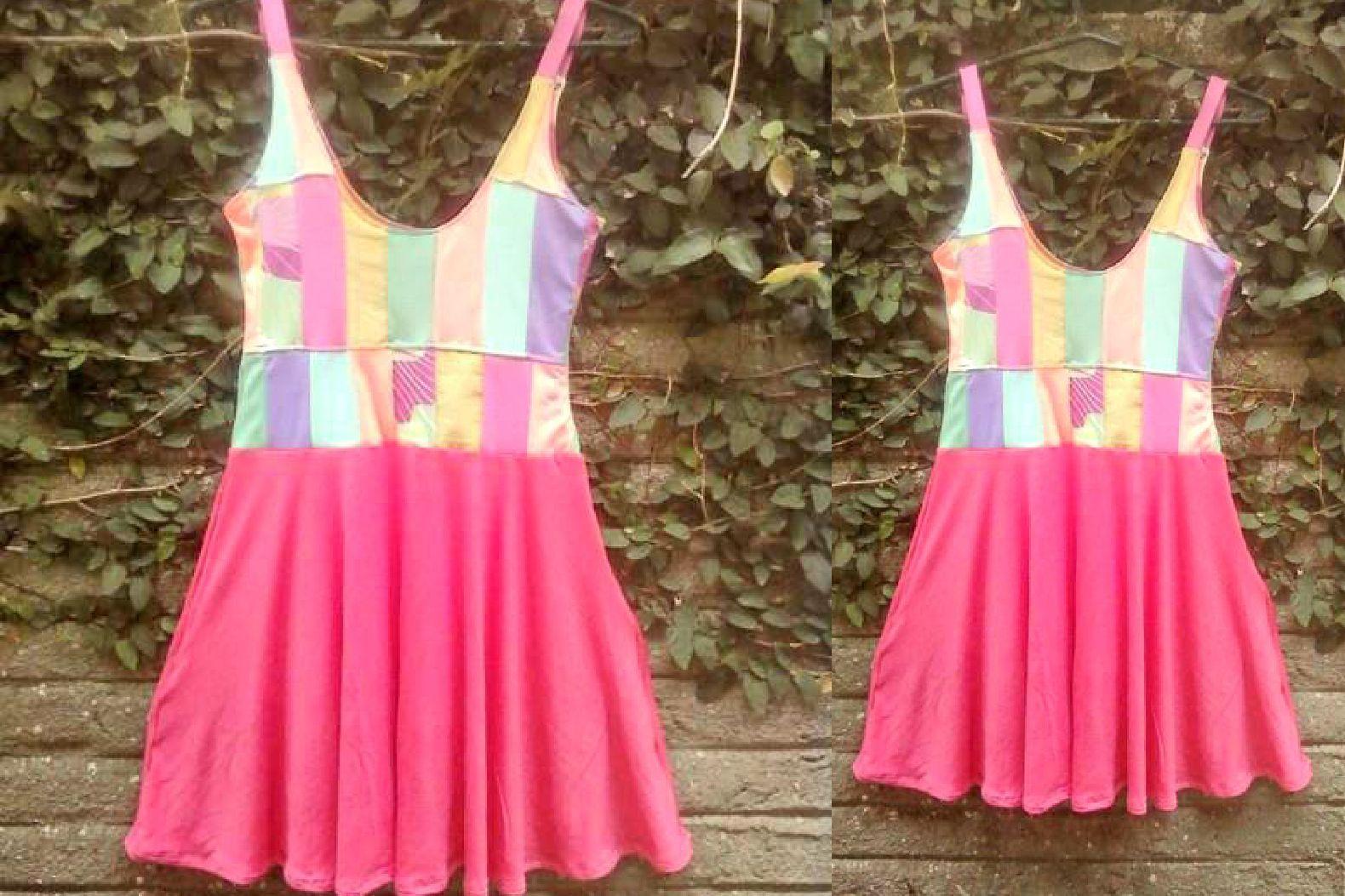 #patchwork #dress #pastel #pink #tank