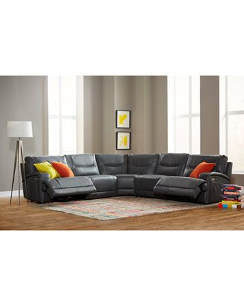 Caruso Leather 5 Piece Power Motion Sectional Sofa Furniture