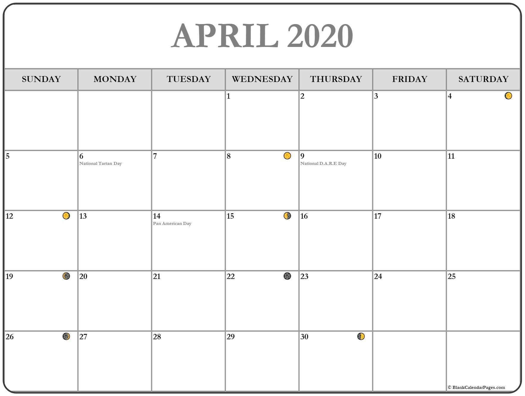Printable April 2020 Moon Calendar With Lunar Phases Dates In 2020