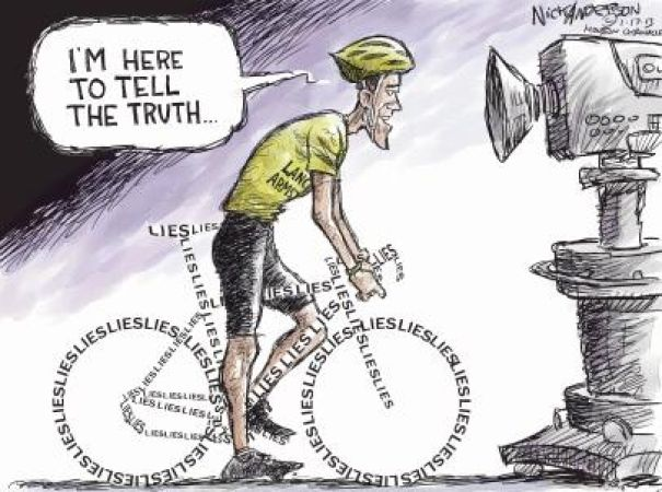 This cartoon touches on Lance Armstrong's constant denial ...